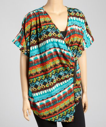 Blue Tribal Surplice Top - Plus