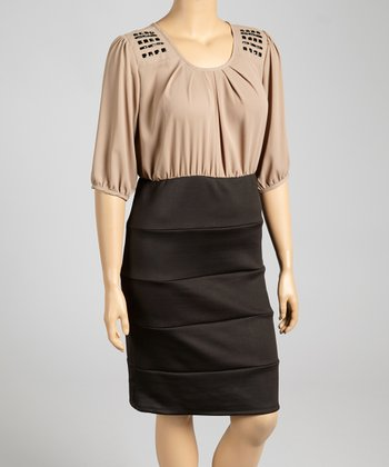 Tan & Black Embellished Dress - Plus