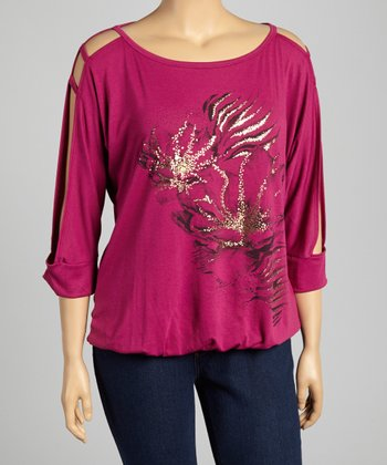 Magenta Embellished Cutout Top - Plus