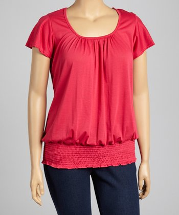 Fuchsia Shirred Top - Plus