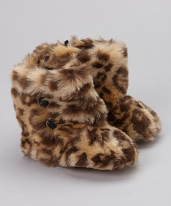 Brown Leopard Faux Fur Booties