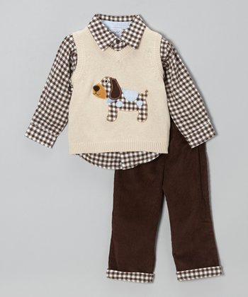 Brown & White Gingham Puppy Vest Set - Infant & Toddler