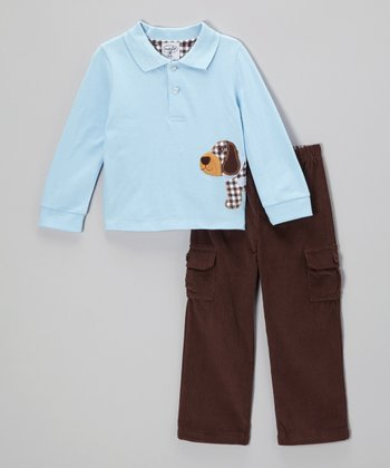 Blue & Brown Puppy Polo & Pants - Toddler