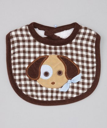 Brown & White Gingham Puppy Bib