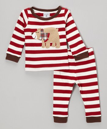 Red & White Stripe Bear Tee & Pants - Infant & Toddler