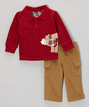 Red & Brown Bear Polo & Pants - Infant & Toddler