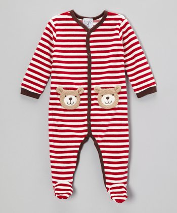 Red & White Stripe Bear Footie - Infant