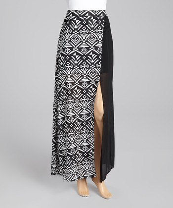 Black Tribal Color Block Skirt