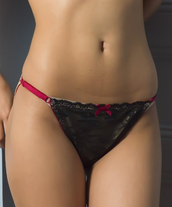 Black & Red Adjustable Organic Maternity Bikini Briefs