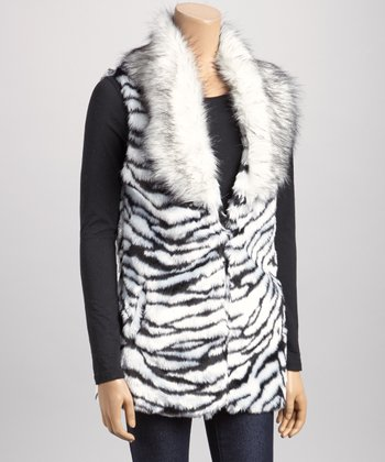 Black & White Zebra Collared Faux Fur Vest