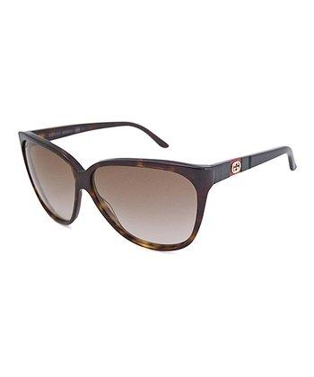 Gucci Tortoise & Brown Cat-Eye Sunglasses