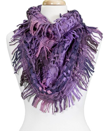 Purple Plaid Fringe Wool-Blend Infinity Scarf
