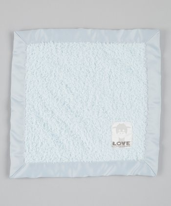 Blue Cherish Chenille Satin Security Blanket