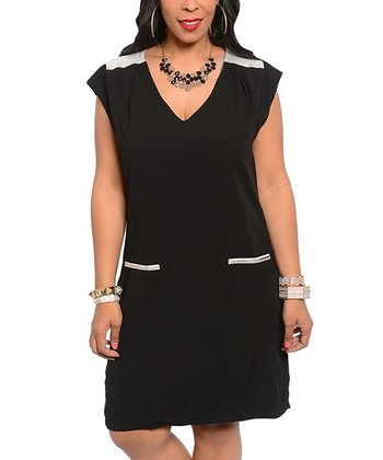 Black V-Neck Dress - Plus