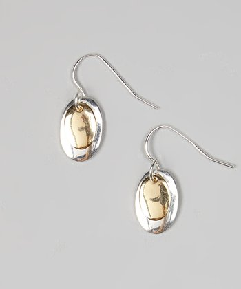 Silver & Gold Oval Drop Earrings