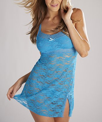 Blue Shiny Lace Sleeveless Babydoll & Thong - Women & Plus