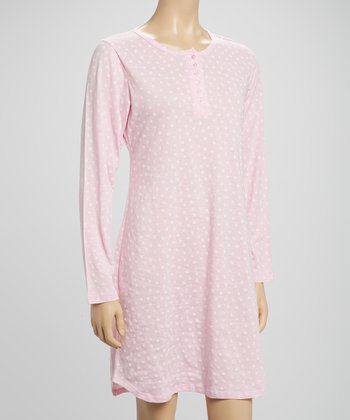 Pink Polka Dot Long-Sleeve Sleepshirt