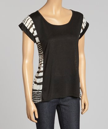 Black Stripe Color Block Cap-Sleeve Top