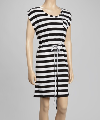 White Stripe Cap-Sleeve Dress