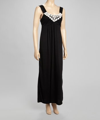 Black Ruched Empire-Waist Maxi Dress
