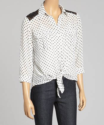 White & Black Polka Dot Lace Tie-Front Button-Up