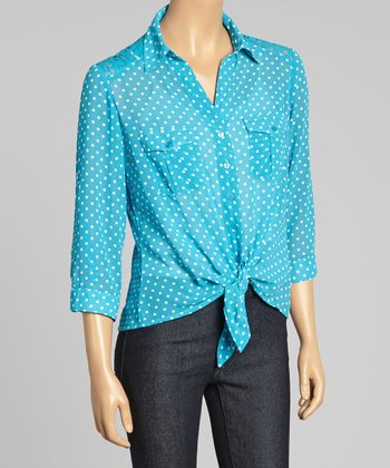 Vivid Teal & White Polka Dot Lace Tie-Front Button-Up