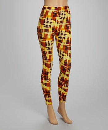Yellow & Orange Abstract Leggings