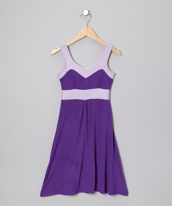 Purple & Lavender Giza Dress - Girls