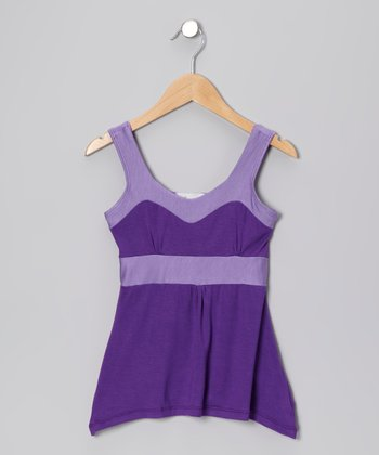 Purple & Lavender Giza Tank - Girls