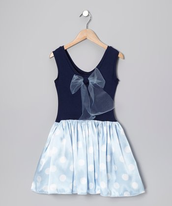 Navy & Light Blue Lindsey Dress - Girls