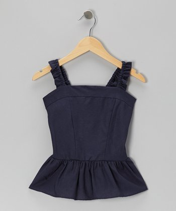 Navy Ruffle Papyrus Linen-Blend Top - Girls