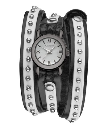 Silver & Black Studded Triple Wrap Watch