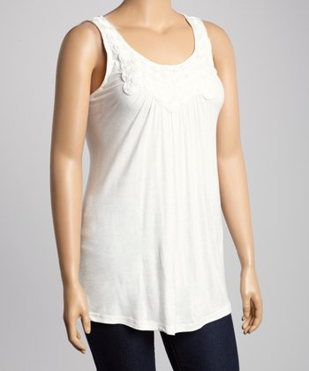 Ivory Rosette Sleeveless Top - Plus