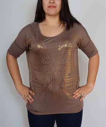 Brown Geometric Embellished Scoop Neck Top - Plus