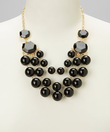 Black Sphere Bubble Bib Necklace