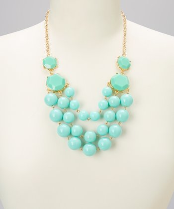 Mint Sphere Bubble Bib Necklace