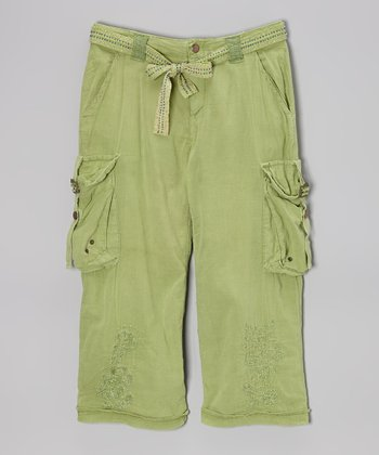 Kiwi Green Embroidered Cargo Pants - Girls
