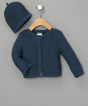 Blue Knitted Cardigan & Hat