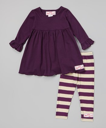 Purple & Cream Dress & Leggings - Infant, Toddler & Girls
