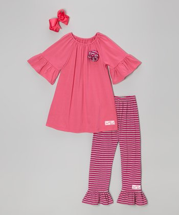 Pink & Gray Stripe Rosette Tunic Set - Toddler & Girls