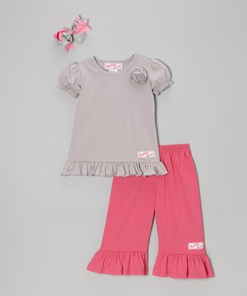 Gray & Pink Ruffle Tee Set - Infant, Toddler & Girls