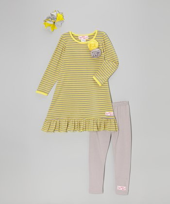 Yellow & Gray Stripe Ruffle Dress Set - Toddler & Girls