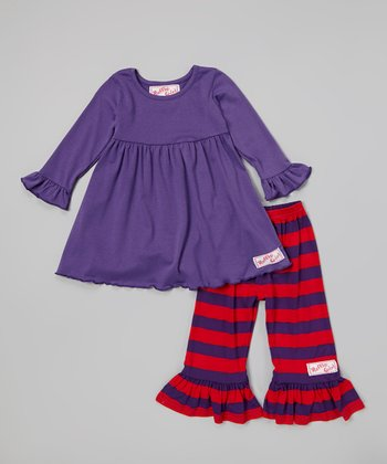Red & Purple Dress & Ruffle Pants - Infant, Toddler & Girls
