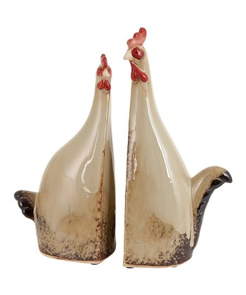 Beige & Red Ceramic Rooster Bookend Set