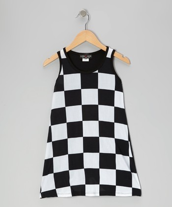 Black & White Checkerboard Swing Dress