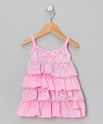 Pink 'Fun' Tiered Ruffle Dress - Toddler & Girls
