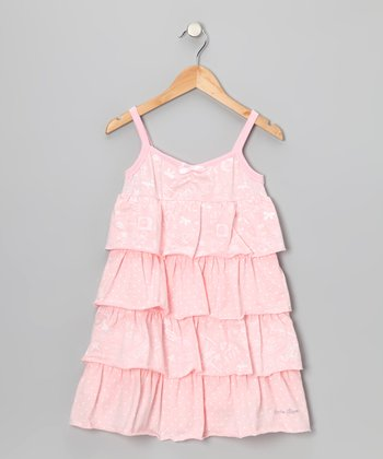 Peach 'Fun' Tiered Ruffle Dress - Toddler & Girls