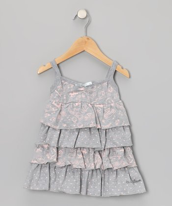 Gray 'Fun' Tiered Ruffle Dress - Toddler & Girls