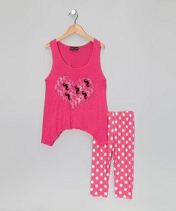 Hot Pink Mustache Heart Sidetail Tunic & Leggings