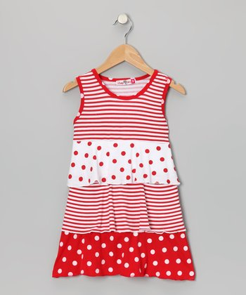 Red & White Polka Dot Tiered Dress - Girls